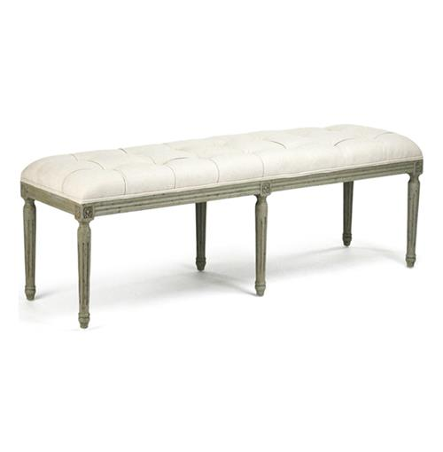 French Country Louis XVI Linen Tufted Oak Olive Green Long Bench | Kathy Kuo Home