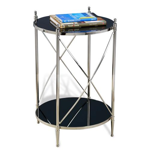 Heythrop Hollywood Regency Steel and Glass Round Side Table | Kathy Kuo Home