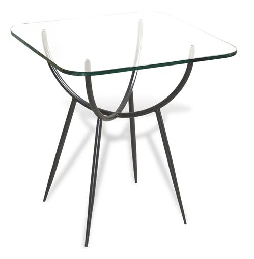 Alloro Rectangular Modern Glass Side End Table | Kathy Kuo Home