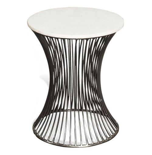 Pinera Circular Marble Side End Table | Kathy Kuo Home