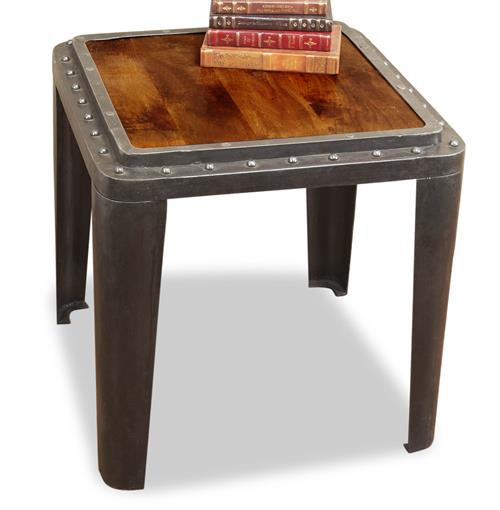 Taloro Industrial Antique Side End Table | Kathy Kuo Home