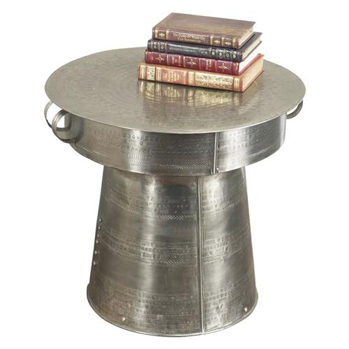 Interlude Antimo Hammered Iron Industrial Drum Table - 22 Inch | Kathy Kuo Home