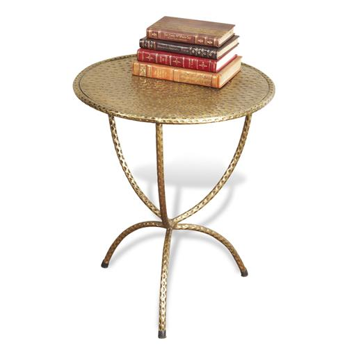 Loreto Antique Brass Iron Side Table | Kathy Kuo Home