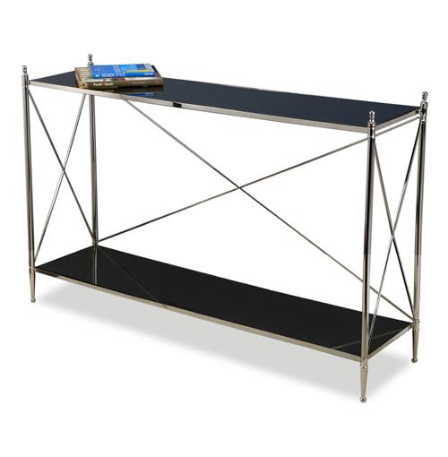 Heythrop Hollywood Regency Steel and Glass Console Table | Kathy Kuo Home