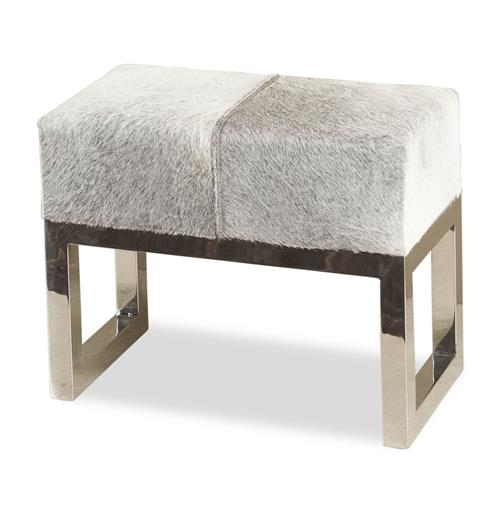 Interlude Moro Hollywood Regency Grey Hide Steel Ottoman Stool | Kathy Kuo Home