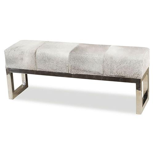 Interlude Moro Hollywood Regency Grey Hide Steel Bench | Kathy Kuo Home