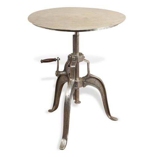 Savio Round Metal Industrial Crank Small Dining Center Table | Kathy Kuo Home