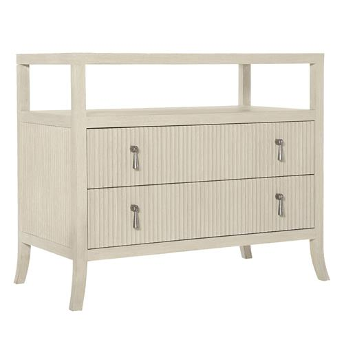 Alice Modern Classic Beige Two Drawer Open Shelf Dresser | Kathy Kuo Home