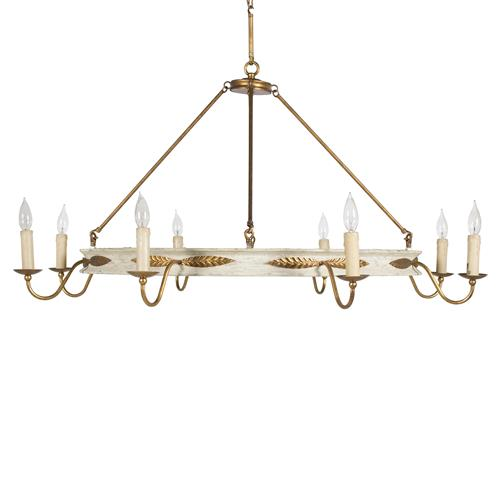 Vivian French Country Antique Pine Wood Gold Leaf Chandelier | Kathy Kuo Home