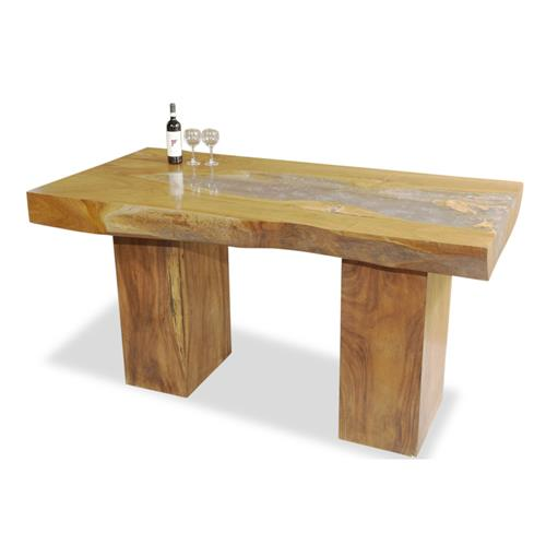 Rustic Cairns Teak And Cracked Resin Vintage Bar Table Kathy Kuo Home