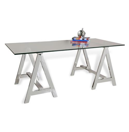 Valeria Contemporary Glass and Steel Sawhorse Desk | Kathy Kuo Home