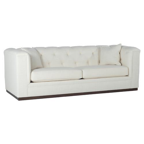 Nicolas Modern Classic Ivory Upholstered Plinth Base Tufted Sofa