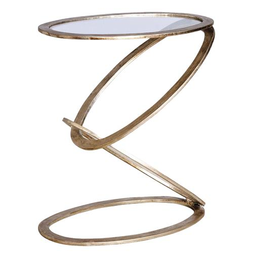 Mobius Modern Sculptural Antique Silver Leaf Metal End Side Table | Kathy Kuo Home