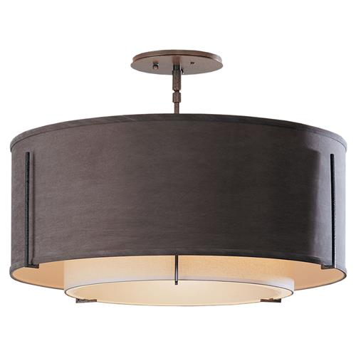 Hubbardton Forge Anna Modern Classic 3-Light Double Drum Shade Linen Semi-Flush Ceiling Light | Kathy Kuo Home