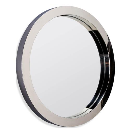 Wilshire Polished Steel Modern Deco Porthole Mirror - Small | Kathy Kuo Home