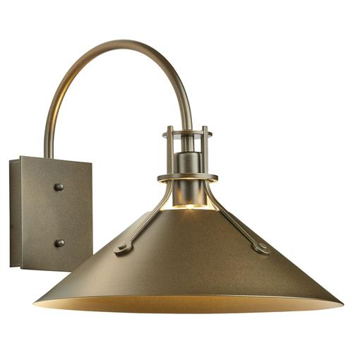 Hubbardton Forge Hazeline Industrial Coastal Bronze Cone Outdoor Wall Sconce | Kathy Kuo Home