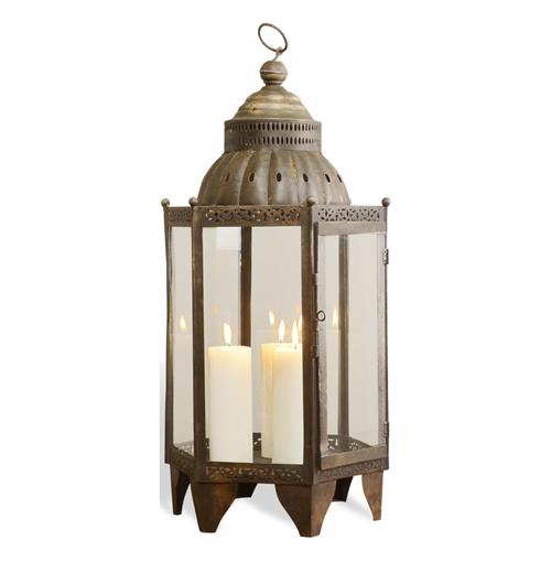 Sellano Rustic Antique Iron Bazaar Hanging Candle Lantern | Kathy Kuo Home