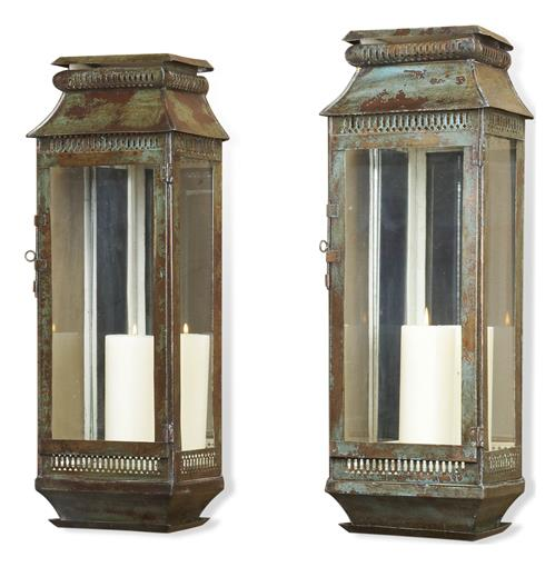 Modena Tall Moroccan Rustic Pair Wall Sconce Lanterns | Kathy Kuo Home