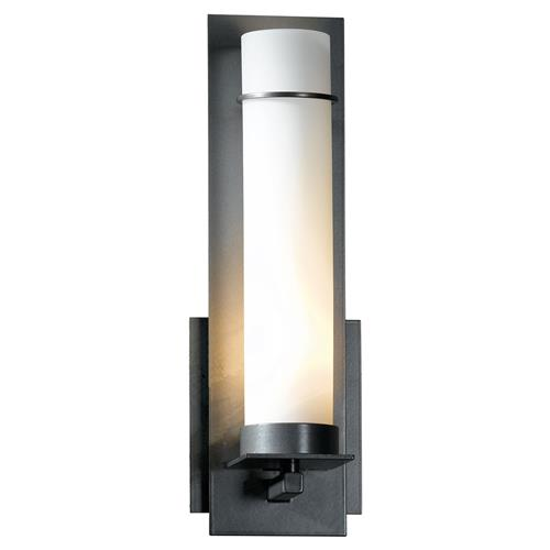 Hubbardton Forge Nimfa Industrial Brushed Steel Opal Glass 1-Light Wall Sconce | Kathy Kuo Home