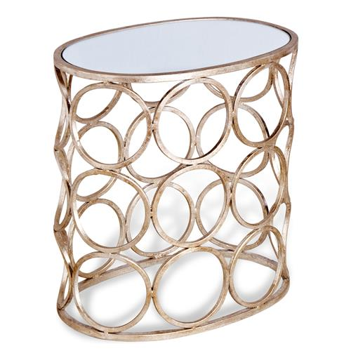Brigit Modern Antique Silver Leaf Champagne Finish Circle Side Table | Kathy Kuo Home