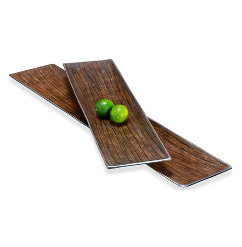 Danica Modern Silver Chestnut Serving Platters- Set of 2 | Kathy Kuo Home