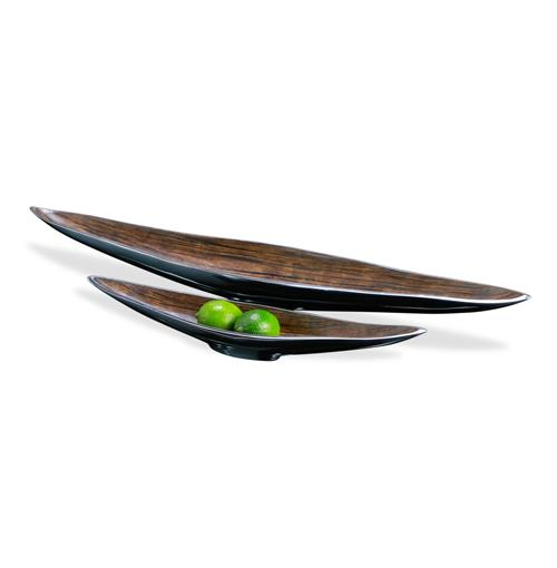 Dressler Modern Silver Chestnut Long Serving Bowls- Set of 2 | Kathy Kuo Home
