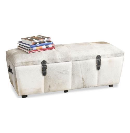 Moro Modern Hollywood Cowhide Wood Double Wide Trunk | Kathy Kuo Home