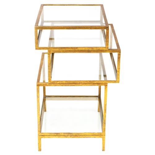 Oly Studio Rubiks Hollywood Regency Stacked Glass Shelf Side Table - Medium | Kathy Kuo Home