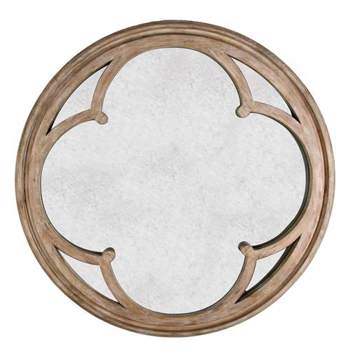 Alhambra French Country Hand Antiqued Circular Wood Mirror | Kathy Kuo Home