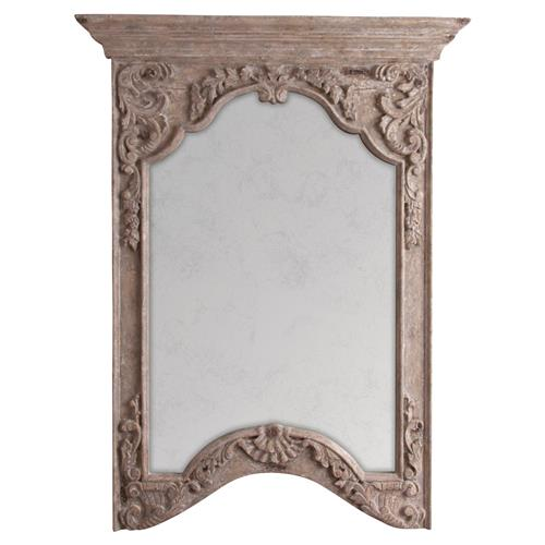 Brunelle French Taupe Antique Finish Floral Relief Wall Mirror | Kathy Kuo Home