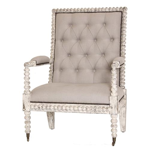 Bordeaux French Country Button Tufted Taupe Loft Armchair | Kathy Kuo Home