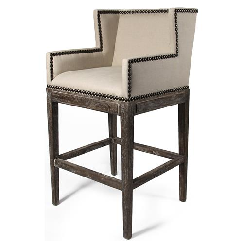 French Country Contemporary Nailhead Linen High Backed Barstool | Kathy Kuo Home