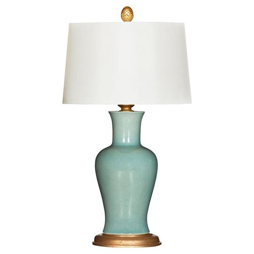 Eloise Modern Classic Blue Ceramic Gold Base Table Lamp | Kathy Kuo Home