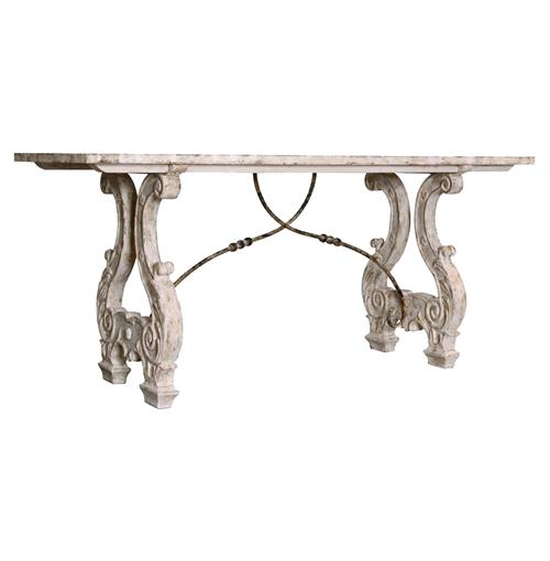 Italian Lyre Base Rustic Country Antique Console Table | Kathy Kuo Home