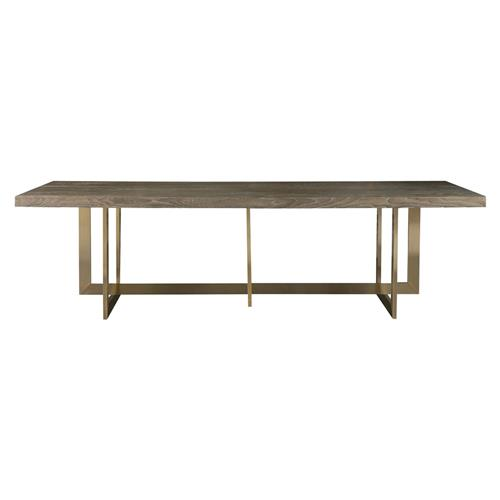 Merlin Modern Classic Wood Top Bronze Rectangular Dining Table | Kathy Kuo Home