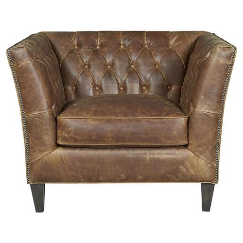 Denver Industrial Brown Leather Tufted Nailhead Trim Occasional Arm Chair | Kathy Kuo Home