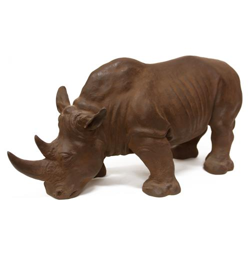 Rhino Rustic Bronze Antiqued Statue Safari Sculpture | Kathy Kuo Home