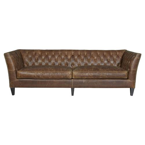 Denver Industrial Brown Leather Tufted Nailhead Trim Sofa | Kathy Kuo Home