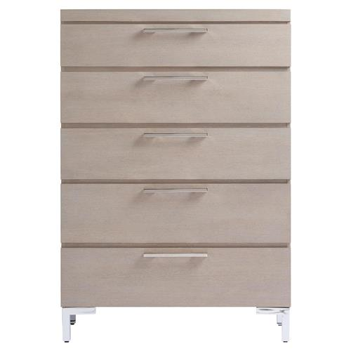 Brian Modern Classic Grey 5 Drawer Tall Wood Dresser | Kathy Kuo Home