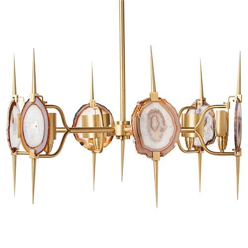 Eclipse Satin Brass Natural Agate Stone 6 Light Chandelier | Kathy Kuo Home