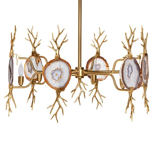 Branch Satin Brass Natural Agate Stone 6 Light Chandelier | Kathy Kuo Home