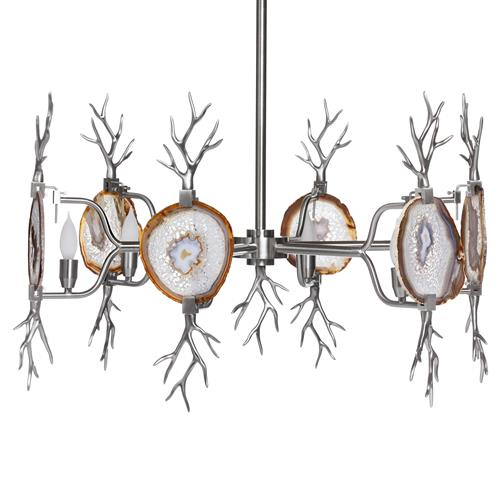 Branch Satin Nickel Natural Agate Stone 6 Light Chandelier | Kathy Kuo Home