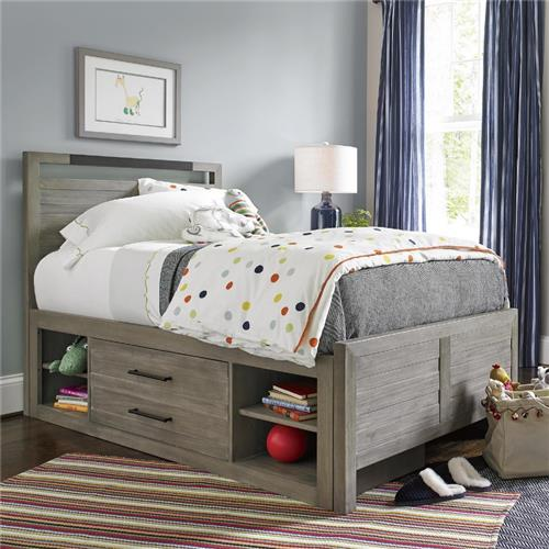 Claire Rustic Grey Metal Accent Wood Storage Bed - Twin | Kathy Kuo Home