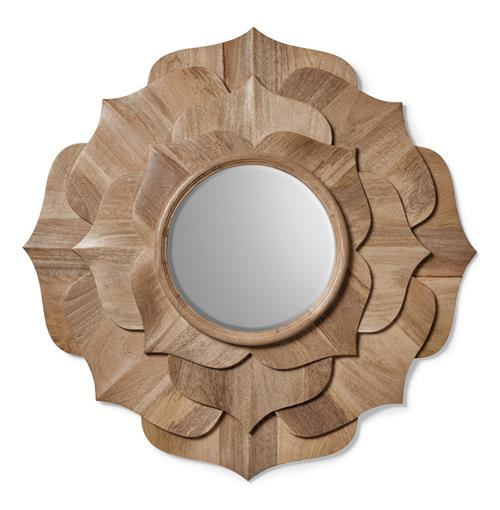 Hand Carved Solid Wood Contemporary Lotus Petal Mirror | Kathy Kuo Home