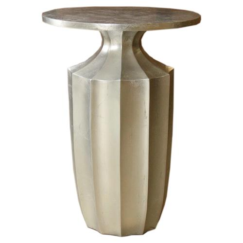 Flirt Art Deco Regency Modern Fluted Silver Side Table | Kathy Kuo Home