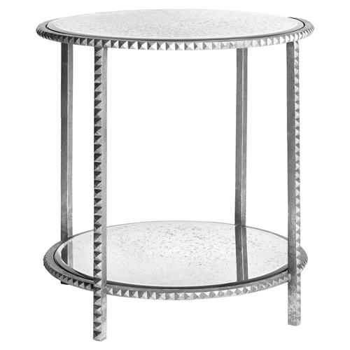 Round Silver Leaf Studded End Table with Antique Mirror | Kathy Kuo Home