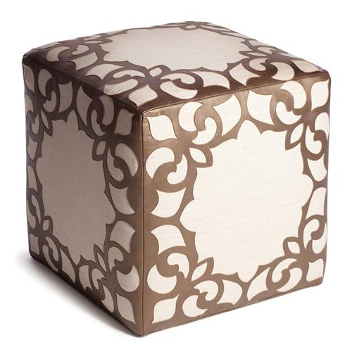 Brighton Bronze Leather Linen Contemporary Cube Ottoman | Kathy Kuo Home