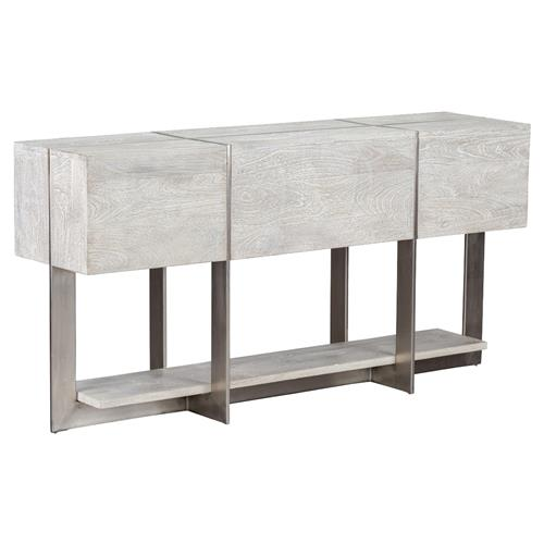 Felix Rustic Lodge Iron Inlaid Rectangular Grey Wash Console Table | Kathy Kuo Home
