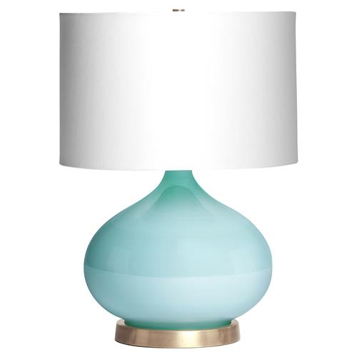 Candace Contemporary Robins Egg Blue Glass Table Lamp | Kathy Kuo Home