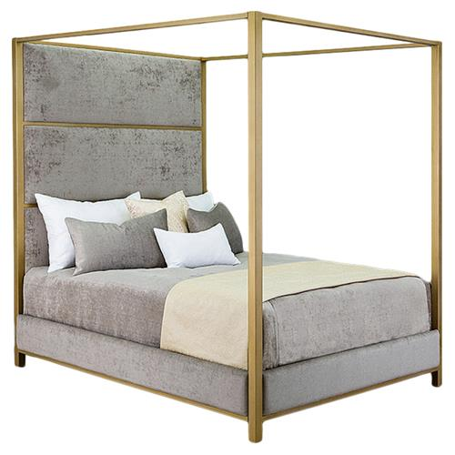 Rian Modern Classic Grey Upholstered, Modern Canopy Queen Metal Bed Instructions